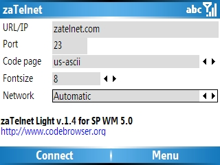 Smartphone zaTelnet Light v1.6